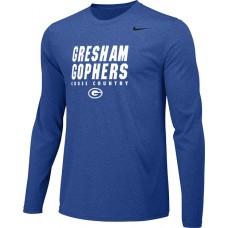 Gresham Cross-Country 14: Youth-Size - Nike Team Legend Long-Sleeve Crew T-Shirt - Royal