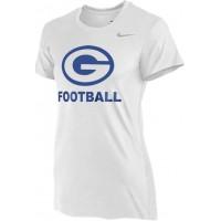 Gresham Football 12: Nike Women's Legend Short-Sleeve Training Top - White with Blue G Logo