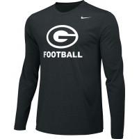 Gresham Football 13: Adult-Size - Nike Team Legend Long-Sleeve Crew T-Shirt - Black with White G Logo