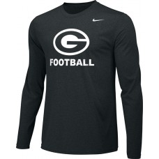 Gresham Football 14: Youth-Size - Nike Team Legend Long-Sleeve Crew T-Shirt - Black with White G Logo