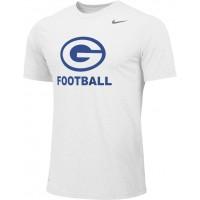 Gresham Football 10: Adult-Size - Nike Team Legend Short-Sleeve Crew T-Shirt - White with Blue G Logo