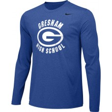 Gresham High School 17: Youth-Size - Nike Team Legend Long-Sleeve Crew T-Shirt - Royal